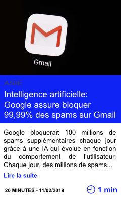 Technologie intelligence artificielle google assure bloquer 99 99 des spams sur gmail page001