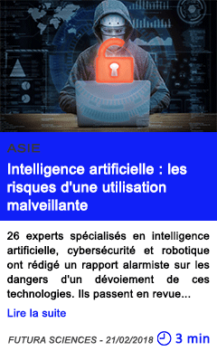 Technologie intelligence artificielle les risques d une utilisation malveillante