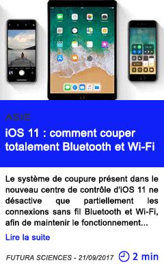 Technologie ios 11 comment couper totalement bluetooth et wi fi