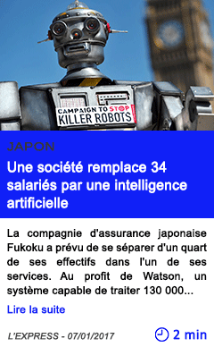 Technologie japon une societe remplace 34 salaries par une intelligence artificielle