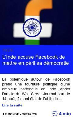 Technologie l inde accuse facebook de mettre en peril sa democratie page001
