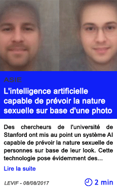 Technologie l intelligence artificielle capable de prevoir la nature sexuelle sur base d une photo