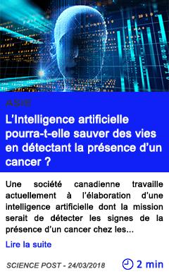 Technologie l intelligence artificielle pourra t elle sauver des vies en detectant la presence d un cancer