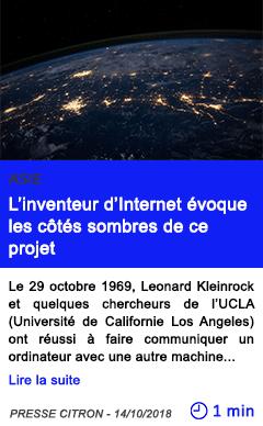 Technologie l inventeur d internet evoque les cotes sombres de ce projet