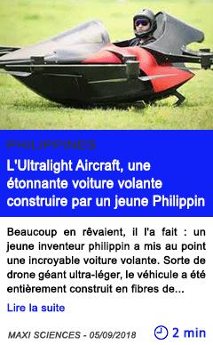 Technologie l ultralight aircraft une etonnante voiture volante construire par un jeune philippin