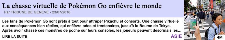 Technologie la chasse virtuelle de pokemon go enfievre le monde