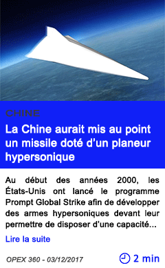 Technologie la chine aurait mis au point un missile dote d un planeur hypersonique