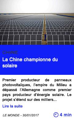 Technologie la chine championne du solaire