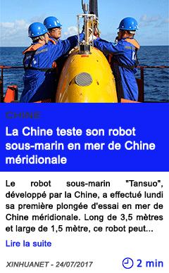 Technologie la chine teste son robot sous marin en mer de chine meridionale