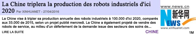 Technologie la chine triplera la production des robots industriels d ici 2020