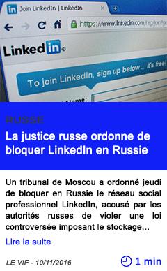Technologie la justice russe ordonne de bloquer linkedin en russie