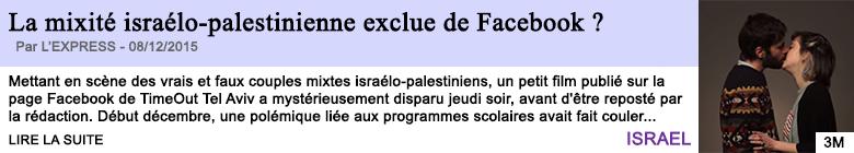 Technologie la mixite israelo palestinienne exclue de facebook