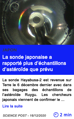 Technologie la sonde japonaise a rapporte plus d e chantillons d aste roi de que pre vu