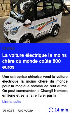 Technologie la voiture elec trique la moins chere du monde coute 800 euros
