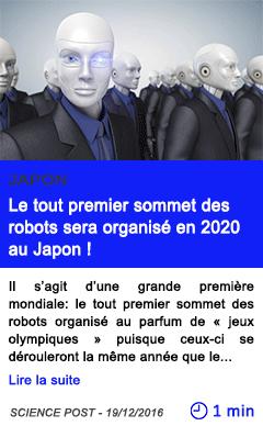 Technologie le tout premier sommet des robots sera organise en 2020 au japon