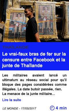 Technologie le vrai faux bras de fer sur la censure entre facebook et la junte de thailande