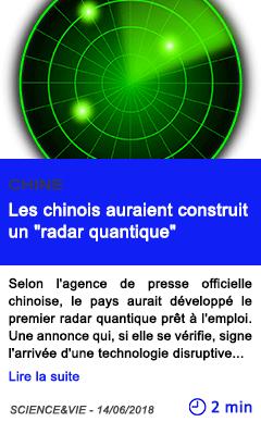 Technologie les chinois auraient construit un radar quantique
