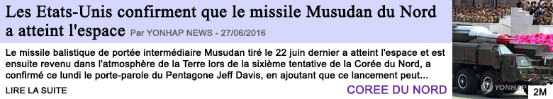 Technologie les etats unis confirment que le missile musudan du nord a atteint l espace