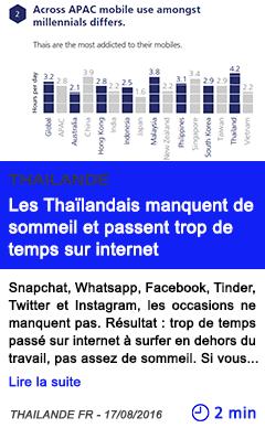 Technologie les thailandais manquent de sommeil et passent trop de temps sur internet