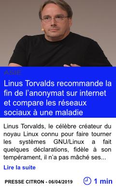 Technologie linus torvalds recommande la fin de l anonymat sur internet et compare les reseaux sociaux a une maladie page001