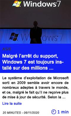 Technologie malgre l arre t du support windows 7 est toujours installe sur des millions d ordinateurs