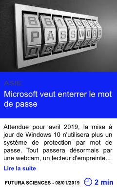 Technologie microsoft veut enterrer le mot de passe page001