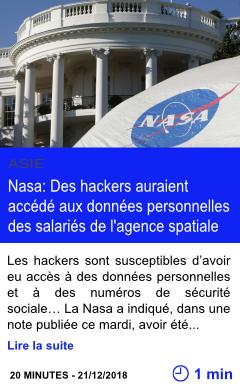 Technologie nasa des hackers auraient accede aux donnees personnelles des salaries de l agence spatiale page001