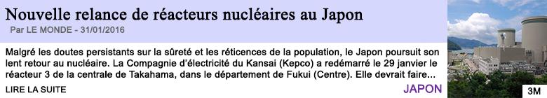 Technologie nouvelle relance de reacteurs nucleaires au japon