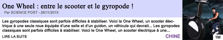 Technologie one wheel entre le scooter et le gyropode
