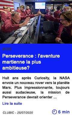 Technologie perseverance l aventure martienne la plus ambitieuse