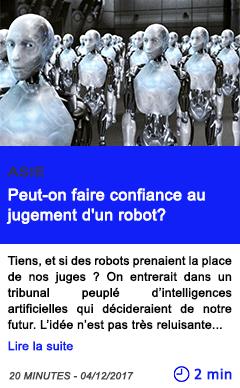 Technologie peut on faire confiance au jugement d un robot