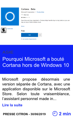 Technologie pourquoi microsoft a boute cortana hors de windows 10 page001