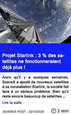 Technologie projet starlink 3 des satellites ne fonctionneraient de ja plus