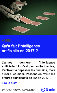 Technologie qu a fait l intelligence artificielle en 2017
