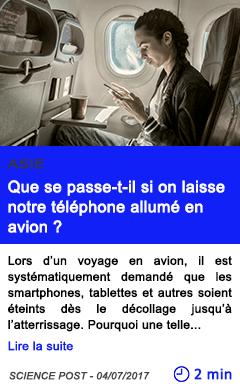 Technologie que se passe t il si on laisse notre telephone allume en avion