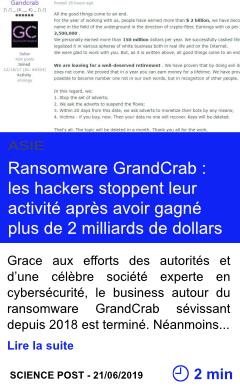 Technologie ransomware grandcrab les hackers stoppent leur activite apres avoir gagne plus de 2 milliards de dollars page001
