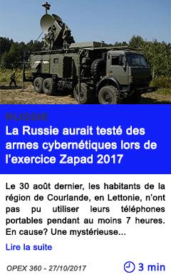 Technologie selon des membres de l otan la russie aurait teste des armes cybernetiques lors de l exercice zapad 2017
