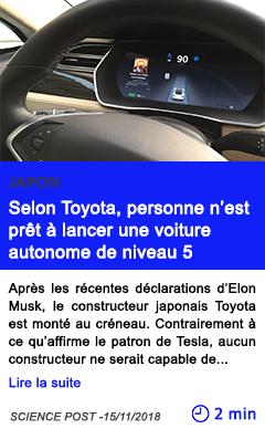 Technologie selon toyota personne n est pret a lancer une voiture autonome de niveau 5