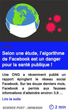 Technologie selon une etude l algorithme de facebook est un danger pour la sante publique