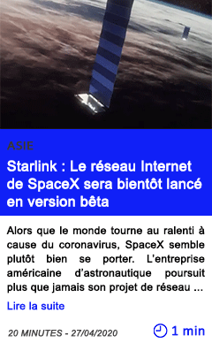 Technologie starlink le reseau internet de spacex sera bientot lance en version beta