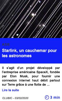 Technologie starlink un cauchemar pour les astronomes