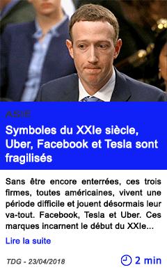 Technologie symboles du xxie siecle uber facebook et tesla sont fragilises