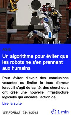 Technologie un algorithme pour eviter que les robots ne s en prennent aux humains