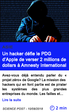 Technologie un hacker defie le pdg d apple de verser 2 millions de dollars a amnesty international