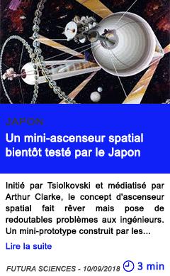 Technologie un mini ascenseur spatial bientot teste par le japon