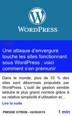 Technologie une attaque d envergure touche les sites fonctionnant sous wordpress voici comment s en premunir page001