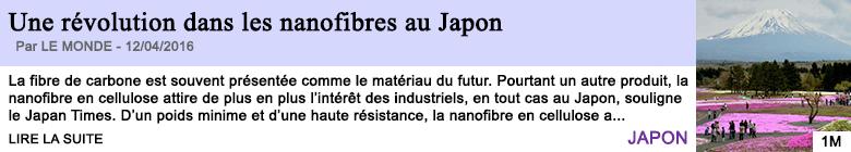 Technologie une revolution dans les nanofibres au japon