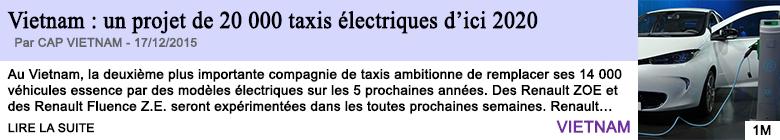 Technologie vietnam un projet de 20 000 taxis electriques d ici 2020