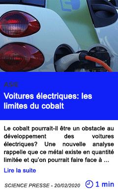 Technologie voitures electriques les limites du cobalt