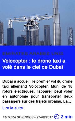 Technologie volocopter le drone taxi a vole dans le ciel de dubai
